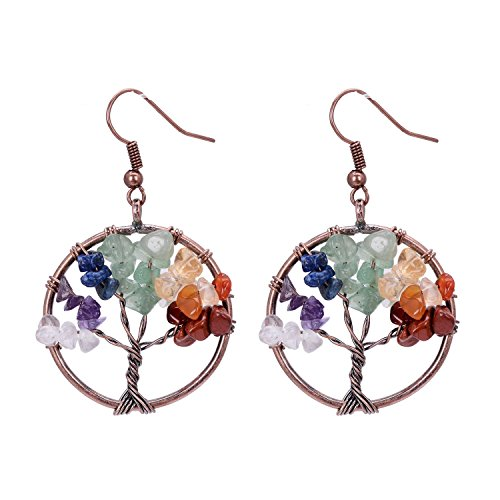 Tree of Life Dangle Earrings Chakra Jewelry Handmade Wire Wrapped Birthstone Earrings for Women