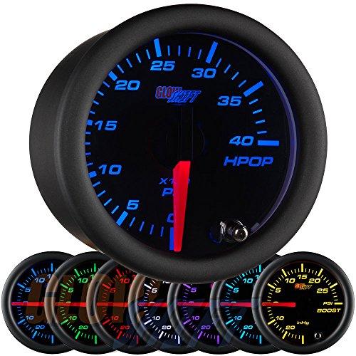 GlowShift Black 7 Color 4,000 PSI High Pressure Oil Pressure HPOP Gauge - for 1994-2003 7.3L & 2003-2007 6.0L Ford Power Stroke Diesel Engines - Black Face - Clear Lens - 2-1/16