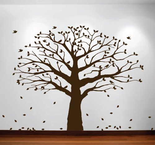 Family Tree Wall Decal Oak Branches Large Nursery Picture Decal with Leaves and Birds #1233 (84'' High x 94'' Wide, Matte Brown)