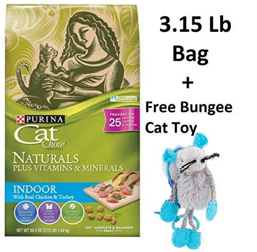 Purina Cat Chow Naturals Plus Vitamins & Minerals - Indoor with Real Chicken & Turkey (6 Bags - 3.15 Lb + Free Toy) by Purina Waggin