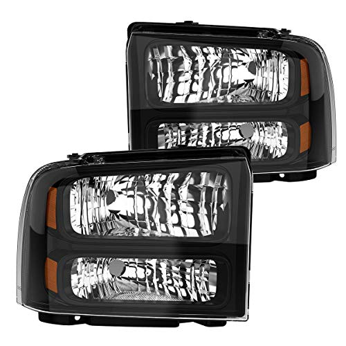 (For 2005-2007 Ford F250 F350 F450 F550 Super Duty Headlights I 2005 Ford Excursion Headlamp Replacement OEDRO Clear Lens,Black Housing Headlight Set)