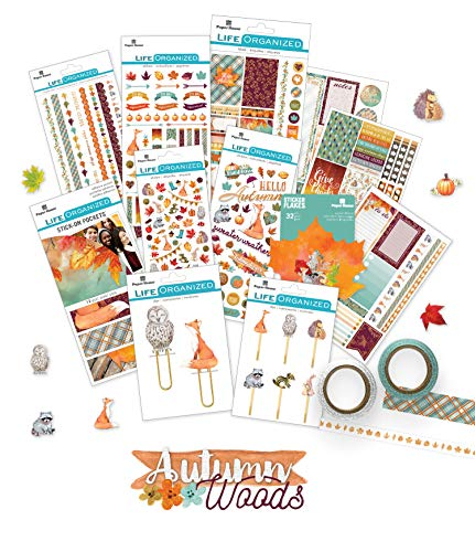 Paper House Productions SET0005 Autumn Planner Accessory Bundle includes Stickers Washi Tape, Planner Clips -