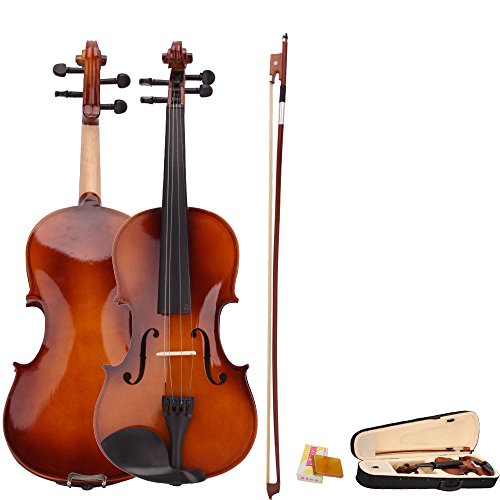 4/4 Full Size Natural Acoustic Violin Fiddle with Case Bow Rosin by Unknown