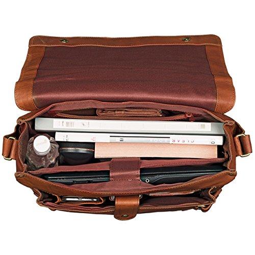 STILORD 'Luca' Vintage Bolso Mensajero de 15,6 pulgadas compartimento para el portátil Uni Recreación oficina de muchos temas de cuero, Color:cognac-marrón cognac-marrón