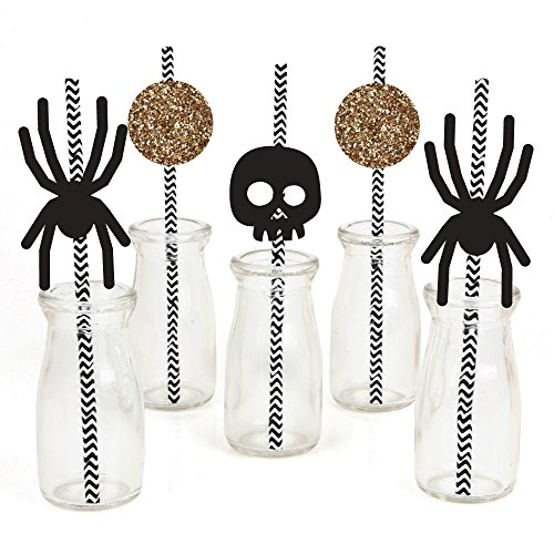 Spooktacularly Sophisticated Paper Straw Decor - Halloween Party Striped Decorative Straws - Set of (Sophisticated Halloween)