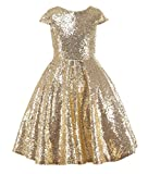 princhar Gold Sequin Flower Girl Dresses Short Party Kids Dress for Wedding US 6T Gold