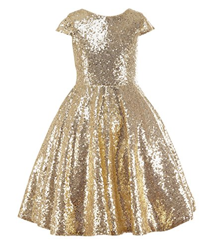 princhar Gold Sequin Flower Girl Dresses Short Party Kids Dress for Wedding US 18M -