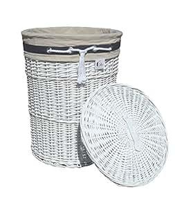 Cesto para la ropa sucia de mimbre blanco dvier d 32 h - Cestos de mimbre blanco ...