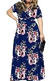 HWOKEFEIYU Women's Short Sleeve Loose Plain Maxi Dresses Casual Long Dresses(Floral Navy Blue,L)