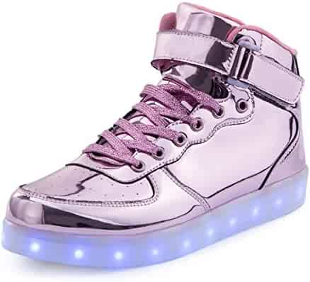 bc5ccb72f075 TUTUYU Kids Adult 11 Colors LED Light Up Shoes High Top Flashing Sneakers  For Christmas