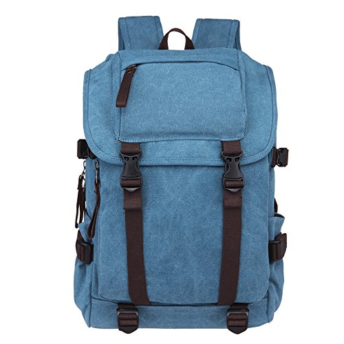 diudiu Canvas Rucksack Korean Leinwand Rucksack Freizeit Schule Tasche Travel Rucksack Casual Wild Rucksack 36l-55l blau