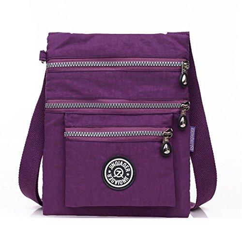 e5b2a227e65e TianHengYi Small Water Resistant Nylon Cross-body Shoulder Bag Multilayers  Purple