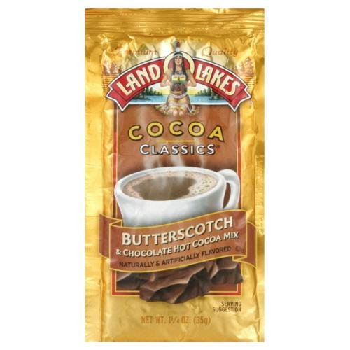 Land O Lakes Cocoa Classic Chocolate and Butterscotch Hot Cocoa Mix, 1.25 Ounce - 12 per case.
