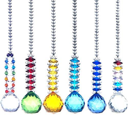 H&D 30mm Crystal Ball Chandelier Prism Cascade Hanging Suncatcher Room Decorations (6pcs Set) by H&D