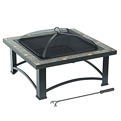 "Sunjoy 30"" Cspr Square Fire Pit with Slate Platform-Top - Versatile design Rugged, powder-coated finish on frame Fire screen and poker included - patio, outdoor-decor, fire-pits-outdoor-fireplaces - 516FpT1zDOL. SS400  -"