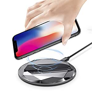 Foluu Wireless Charger 10W Fast Wireless Charging for Samsung Galaxy S6/S7/S8/S9 7.5W Wireless Charging for iPhone X 8/8 Plus 5W for All Qi enabled Phones Diamond Style Light Black