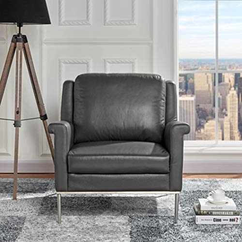 Modern Living Room Leather Armchair, Accent Chair (Grey) (Chairs Affordable Accent)