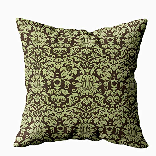 Musesh sage green and brown damask Cushions Case Throw Pillow Cover For Sofa Home Decorative Pillowslip Gift Ideas Household Pillowcase Zippered Pillow Covers 18x18Inch ()