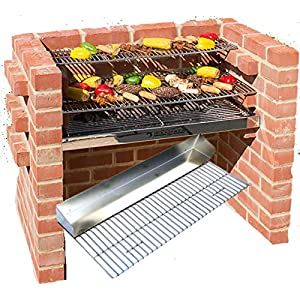 Barbacoa de ladrillos kit 100% muy pesada acero inoxidable + plancha grill + calentamiento Rack 90x 39cm se ajusta a BS EN 1860: 2013–1para seguridad y calidad diseño negro Caballero bkb301g