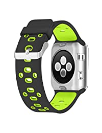 Apple Watch Breathable Band 38mm, UMTELE Silicone Replacement Wristband Sport Strap with TPU Protective Case for Apple Watch Series 3/2/1, Nike+, Black/Green