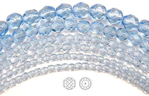3mm (135) Light Sapphire, Czech Fire Polished Round Faceted Glass Beads, 16 inch strand