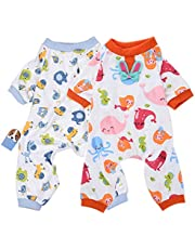 2-Pack Dog Clothes Dogs Cats Onesie Soft Dog Pajamas Cotton Puppy Rompers Pet Jumpsuits Cozy Bodysuits for Small Dogs and Cats
