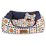 Puppia Authentic Blossom House Pet Bed/Cushion, One-Size, Navy