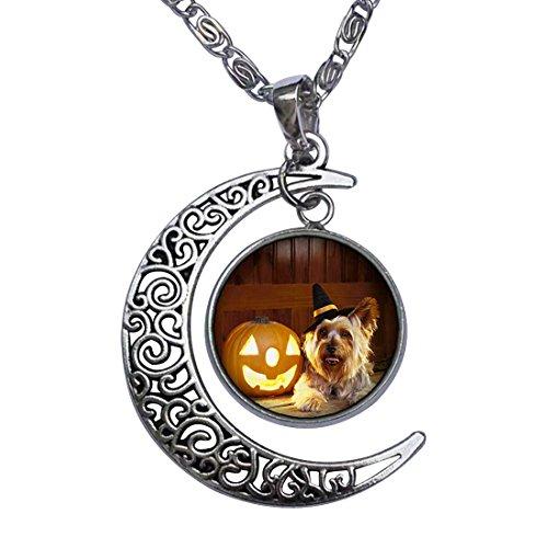 Halloween puppy dog Jack O lantern Crescent Moon Galactic Universe Glass Cabochon Pendant Necklace