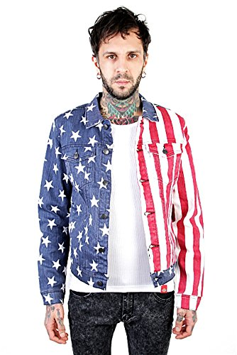 Lip Service Rockers (Lip Service Rocker USA 4th of July American Flag Print Men's Denim Vest (S))