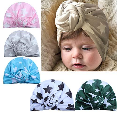 (Udolove Baby Headband Set- Girl Soft Turban Knot Rabbit Headwrap Hospital Hat (5pcs Star)