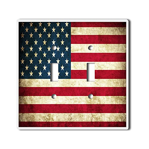 (Light Switch Double Toggle Wall Plate Cover By InfoposUSA Retro American Flag )