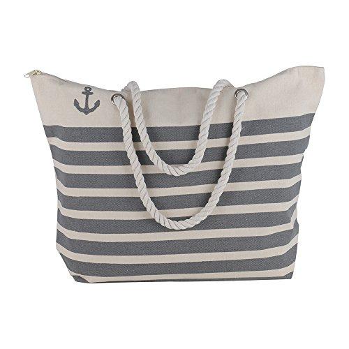 Canvas Heavy Cotton Rope Handles Stripe Zipper Closure Women Premium Straw Beach Tote Bag by BB (Grey)