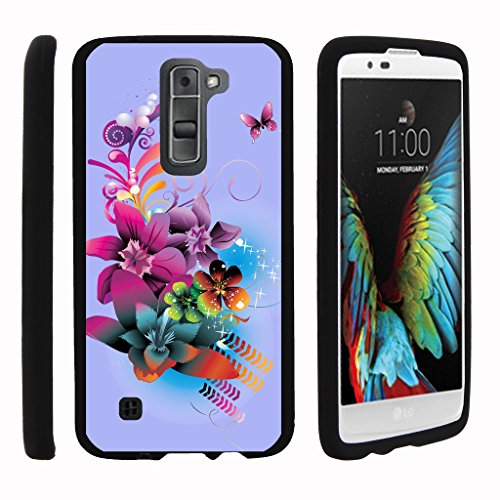MINITURTLE Case Compatible w/Miniturtle [LG K7 Case, LG Treasure Case, LG Tribute 5 Slim Cover] [Snap Shell] 2 Piece Coat Slim Hard Plastic Snap On Case Purple Flower Butterfly