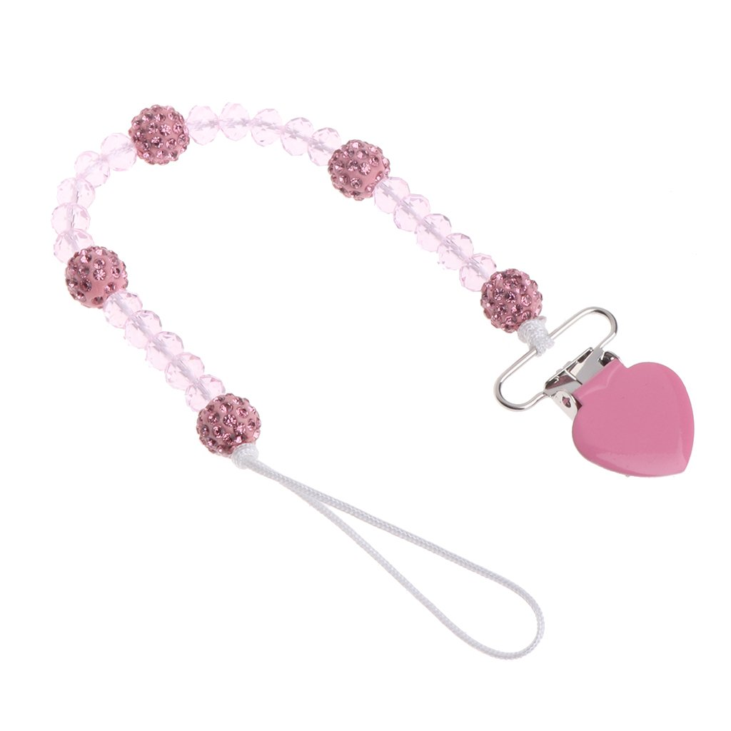 Yuuups Bling Crystal Hand Made Pacifier Clips Soother Chain Dummy Soother Nipple Leash Strap (Pink)
