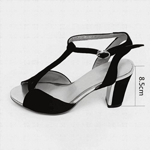 MUMA Escarpin Noir Bleu Rose Rouge Femmes Chaussures Rome Sandales Mot Boucle Sexy Épais Avec Des Chaussures à Talons Féminins ( Couleur : Bleu , taille : EU36/UK3.5/CN35 ) Bleu
