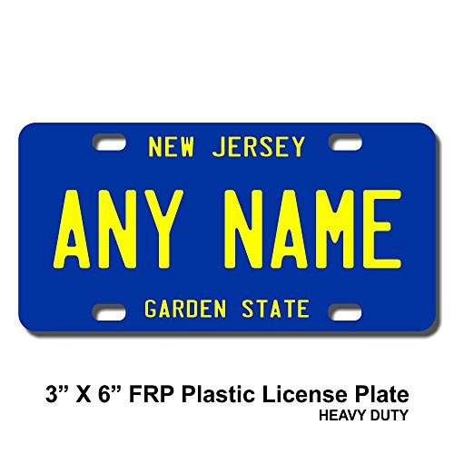 (TEAMLOGO Personalized New Jersey License Plate - Sizes for Kid's Bikes, Cars, Trucks, Cart, Key Rings Version 3 (3 X 6 FRP Plastic License Plate))