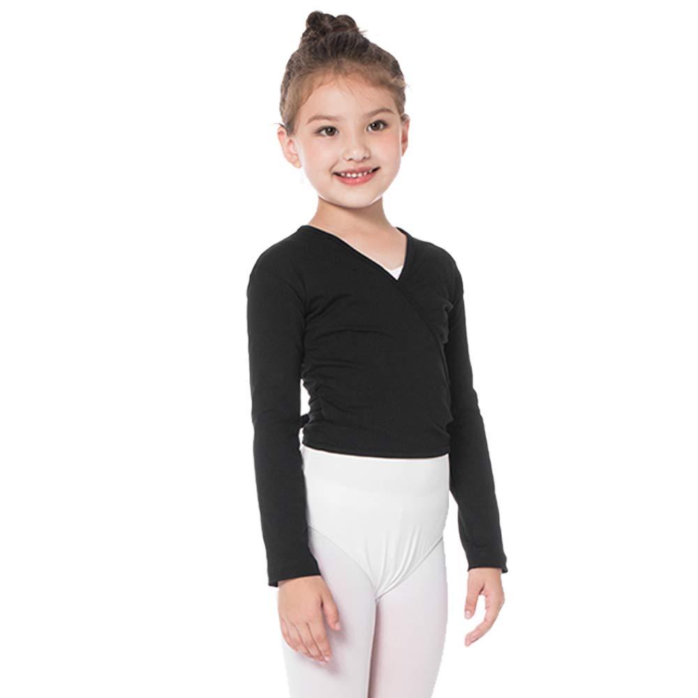 Bezioner Kinder Ballett Wickeljacke Gymnastik Tanz Ballettjacke Lange Ärmel für Mädchen Damen