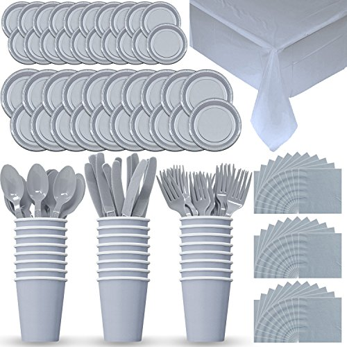Disposable Paper Dinnerware for 24 - Silver - 2 Size plates, Cups, Napkins , Cutlery (Spoons, Forks, Knives), and tablecovers - Full Party Supply Pack