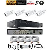 Camius Expandable Full HD 1080P 8-Channel DVR Security Camera System with 4-Pack 2MP 1080p Outdoor Camera - Night vision - wide angle 3.6mm (DVR supports 8 BNC, 4 IP channels)