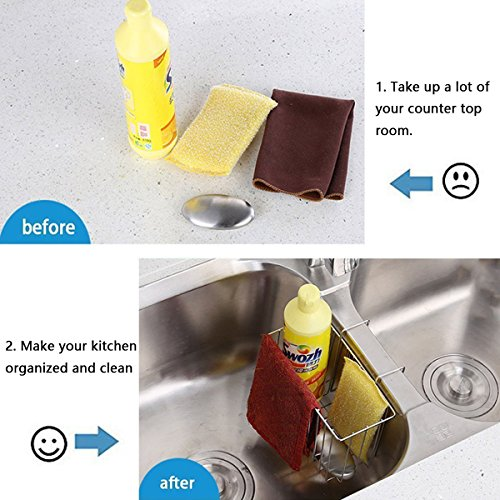 Aiduy Sponge Holder, Sink Caddy Kitchen Brush Soap Dishwashing Liquid Drainer Rack - Stainless Steel by Aiduy (Image #5)