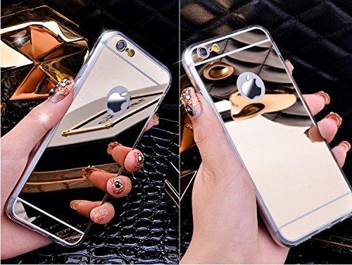 NdB 1700 - ORO Cover Case Custodia per iPhone 7 4.7 a Specchio Mirror - Morbida in Silicone - Protezione Totale dei Tasti - Ultra Lucido