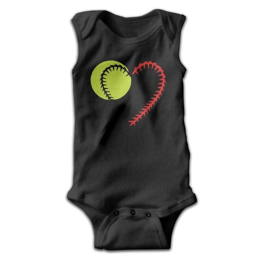 braeccesuit Baseball Softball Lace Infant Baby Boys Girls Infant Creeper Sleeveless Onesie Romper Jumpsuit Black