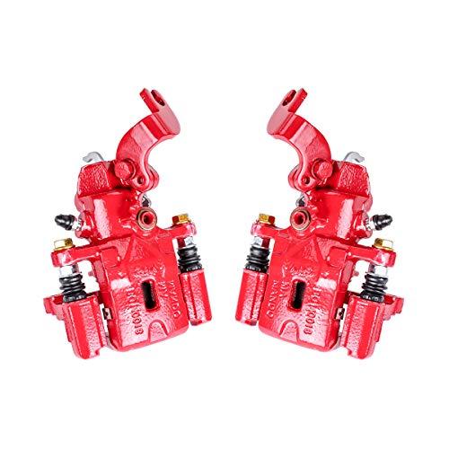 Callahan CCK05182 [2] REAR Premium Semi-Loaded Red Brake Caliper Pair + Clips [for Hyundai Elantra Tiburon Kia Spectra]