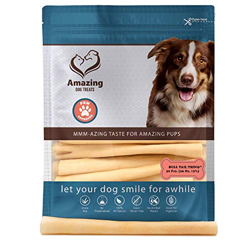 Amazing Dog Treats Cow Tail Dog Chew- Premium Quality – Thin – Sourced from Grass Fed Cattle – Long Lasting Dog Chew- Rawhide Alternative