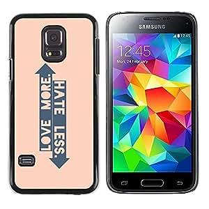 FECELL CITY // Duro Aluminio Pegatina PC Caso decorativo Funda Carcasa de Protección para Samsung Galaxy S5 Mini, SM-G800, NOT S5 REGULAR! // Peach Arrow Love Hate Up Down Quote