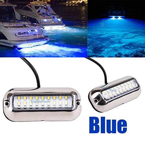Stainless Brace 27LED Blue Underwater Pontoon Marine/Boat Transom Lights