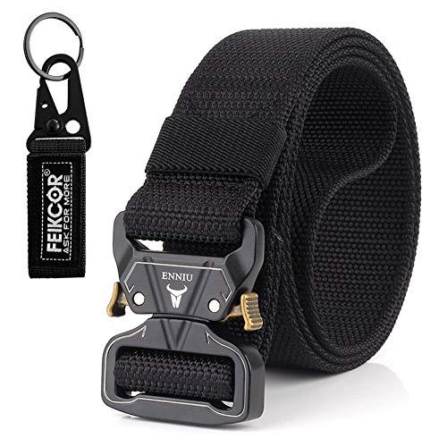 FEIKCOR Tactical Belt, Tactical Heavy Duty Waist Belt for Men, Quick-Release Military Style Shooters Nylon Belts Metal Buckle (Black) ()