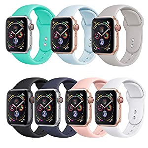 KINGLOO Sport Band Compatible with Apple Watch Band, Choice of Color in 38mm/40MM & 42mm/44mm, Soft Silicone Sport Strap Replacement Bands for Men Women Teens