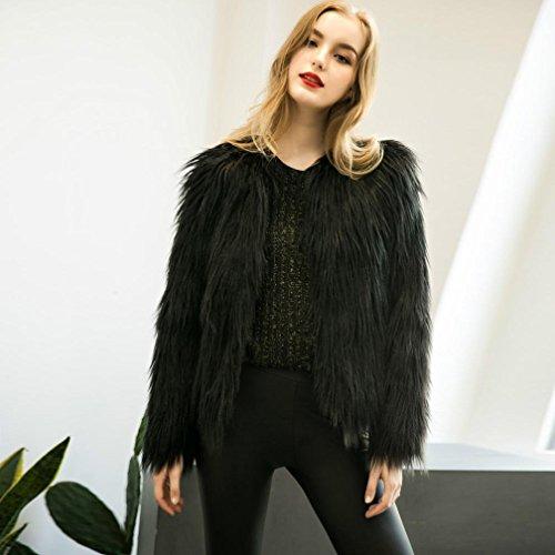 Piel KaloryWee Mujer Sintética Abrigo Invierno Fox Negro de de Abrigo Mujer Parka para Cálida para 41Yr4EqX