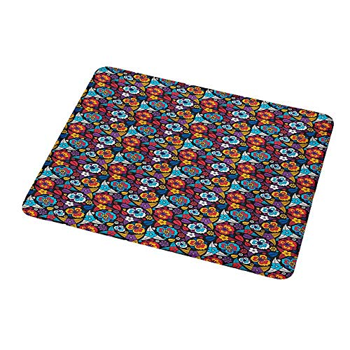 Mouse Pad Custom Colorful,Scroll Pattern in Aloha Style Lively Blossoms and Leaves Classical Romantic Art,Personalized Design Non-Slip Rubber Mouse pad 9.8